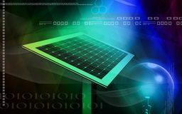 Solar panel. Digital illustration of a solar panel and electric bulb Royalty Free Stock Photo