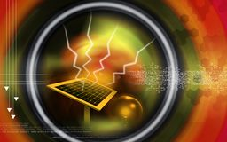 Solar panel. Digital illustration of a solar panel and electric bulb Stock Images