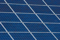 Solar panel. The image shows detailed some solar cells to produce electric energy Stock Image