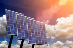 Solar panel against blue sky Stock Photos