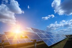 Solar panel, alternative electricity source - concept of sustainable resources, And this is a new system that can generate stock images