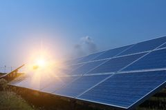 Solar panel, alternative electricity source - concept of sustainable resources, And this is a new system that can generate. Electricity more than the original royalty free stock photos
