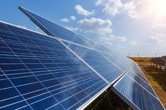 Solar panel, alternative electricity source - concept of sustainable resources, And this is a new system that can generate. Electricity more than the original royalty free stock photography