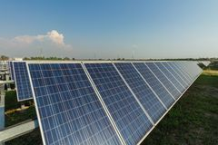 Solar panel, alternative electricity source, concept of sustainable resources, And this is a new system that can generate. Electricity more than the original stock photo