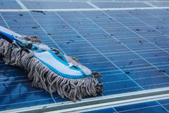 Solar panel, alternative electricity source - concept of sustainable resources, This`s the sun tracking systems, Cleaning will. Increase performance to high royalty free stock images