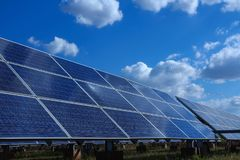 Solar panel, alternative electricity source - concept of sustainable resources, This`s the sun tracking systems, Cleaning will. Increase performance to high royalty free stock photos