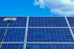 Solar panel, alternative electricity source - concept of sustainable resources, This`s the sun tracking systems, Cleaning will stock photos