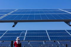 Solar panel, alternative electricity source - concept of sustainable resources, This`s the sun tracking systems, Cleaning will. Increase performance to high stock photography