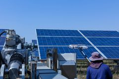 Solar panel, alternative electricity source - concept of sustainable resources, This`s the sun tracking systems, Cleaning will. Increase performance to high royalty free stock photo