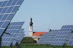 Solar Panel And Bavarian Church Royalty Free Stock Photo