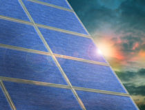 Solar panel array at twilight Stock Images