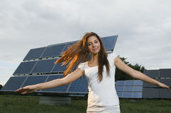 Solar panel in the background Royalty Free Stock Photo