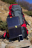 The solar panel on the backpack Stock Image