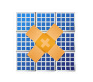 solar panel band aid fix solution concept Stock Photography