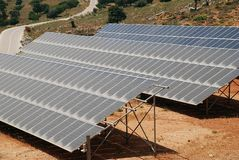 Solar panel bank on Tilos stock images
