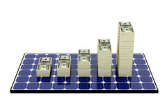 Solar Panel. Bar graphs made from Dollar banknotes Royalty Free Stock Image