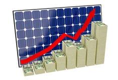 Solar Panel - Bar graphs made from Dollar banknotes. Solar Panel and Bar graphs made from Dollar banknotes Stock Photography