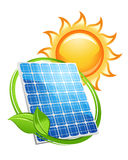Solar panel and batteries with sun. Symbol for alternative energy concept Royalty Free Stock Photos