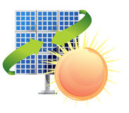 Solar panel and batteries with sun Stock Photography