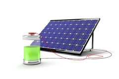 Solar panel and battery Stock Photo