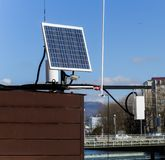 Solar panel battery. On the roof, Sochi,Russia Royalty Free Stock Photography