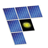 Solar panel with battery vector illustration. Art energy Stock Photography