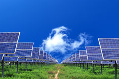 Solar panel on blue sky  background Stock Photos