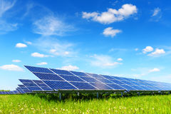 Solar panel on blue sky background Royalty Free Stock Photos