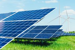 Solar panel on blue sky background Royalty Free Stock Photography