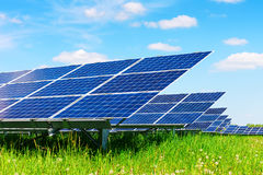 Solar panel on blue sky background Royalty Free Stock Images