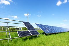 Solar panel on blue sky background Stock Images