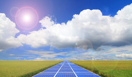 Solar Panel with blue sky and grass Royalty Free Stock Image