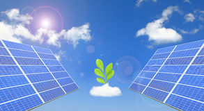 Solar Panel with blue sky ,white cloud and sun Royalty Free Stock Photos