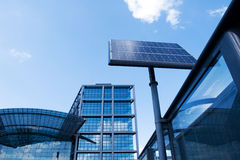 Solar panel on bus station Stock Image