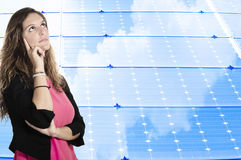 Solar panel. Business woman on the solar panel background Royalty Free Stock Photos