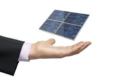Solar panel businessman Royalty Free Stock Image