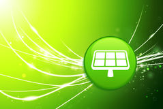 Solar Panel Button on Green Abstract Light Background Royalty Free Stock Image