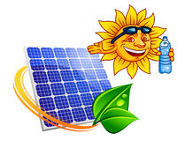 Solar panel with cartoon sun eco. Blue solar energy panel surrounded by sun ray with green leaves above them smiling cartoon sun with sunglasses and bottle of Stock Images