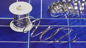 Solar panel cell elements and wires Stock Photography
