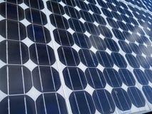 Solar panel cells blue sky copy space. Stock Photos