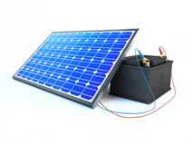 Solar panel charges the battery Royalty Free Stock Photos