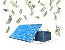Solar panel charges the battery. On a white background Stock Photos
