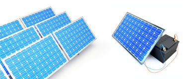 Solar panel charges the battery Stock Images
