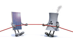 Solar panel and chemical chimney make tug of rope Stock Images