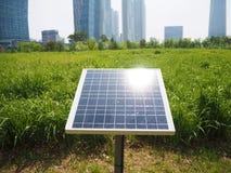 Solar panel in the city Stock Photos