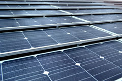 Solar panel. Closeup of solar panels installed on a roof Royalty Free Stock Image