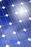 Solar panel closeup with sky and sun reflection Royalty Free Stock Images