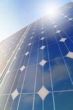 Solar panel closeup with sun reflection Royalty Free Stock Photos