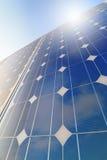Solar panel closeup with sun reflection Royalty Free Stock Photos