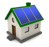 House with solar panel concept 3d illustration. Solar panel concept 3d illustration isolated on white background Royalty Free Stock Image